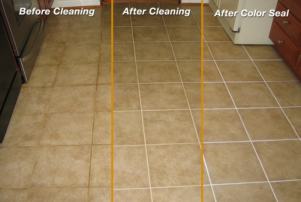 tile and grout cleaning with colour sealing